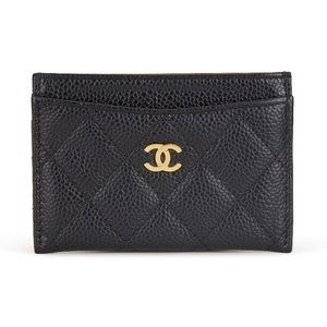 Authentic Chanel Black Caviar Leather Card Case